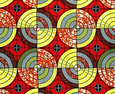 African Fabric 1/2 Yard Cotton RED YELLOW ORANGE Circles Squares BTHY