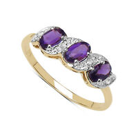 9CT GOLD AMETHYST & DIAMOND ETERNITY ENGAGEMENT RING SIZE I - W ANNIVERSARY GIFT