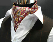 Red Silk Cravat Ascot Set Floral Paisley Men's Scarf Silver Gold FREE HANKY AS26