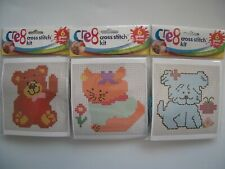 Children Cross Stitch Beginners - Dog Cat Teddy Embroidery