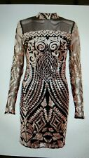 Sam Faiers QUIZ Black / Rose Gold Sequin Turtle Neck Bodycon Dress Last Size 14