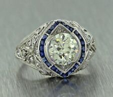 CERTIFIED 2.50CT ROUND BLUE SAPPHIRE ART DECO ENGAGEMENT RING IN 14KT WHITE GOLD