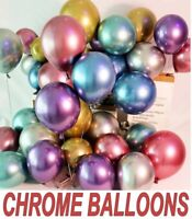 "10 CHROME BALLOONS METALLIC LATEX PEARL 5""10""12""18"" Helium Balloon Birthday UK"