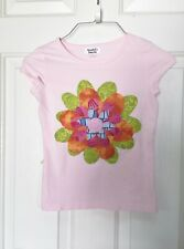 Girl's pink ss tee, Cherokee, size S, added 5 layered flower appliques
