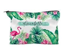 Personalised Make Up Bag, Travel bag. Tropical Flamingo. Birthday 21st 18th 16th