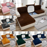 1/2/3 Seater Slipcover Thick Velvet  Sofa Seat Cover Solid Cushion Protector Hot