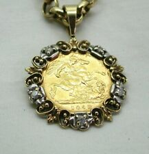 Victorian Half Sovereign Coin Pendant in A Two Colour 9 Carat And Diamond Mount