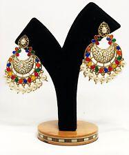 E251  HANDMADE Indian Earrings set Jhumki Bollywood GYPSY Pearl bead Jewelry