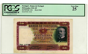 Portugal … P-154 … 50 Escudos … 1949 … *Choice VF+*   PCGS 25.