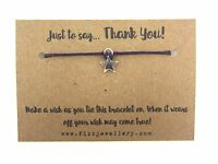 Just To Say... Thank You! Purple Cord Star Message Card Tie Wish Bracelet Gift