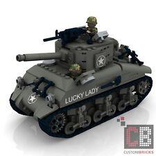 CUSTOM PDF Bauanleitung WW2 WWII Sherman M4A2 Panzer Army Tank für LEGO® Steine