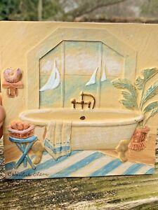 OOAK VERY RARE C Winterele Olson Original Signed 3D Art CLAWFOOT TUB Bath ❤️m9