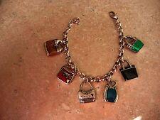 Brighton EMMA Multi Color Enamel Handbag Link Charm Bracelet B50