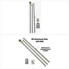 6 Foot Aluminum Silver Pole with (Ball) 6 Ft.