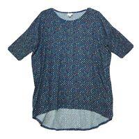 LulaRoe Irma Tunic High Low Tee T Shirt Sz L Large Blue Geometric Short Sleeve