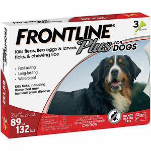 FRONTLINE Plus Flea and Tick Treatment for XL Large Dogs (89-132 Pounds)-3 Doses