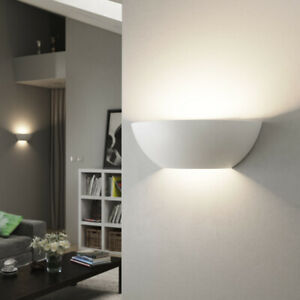 Up Down Indoor LED Plaster Ceramic Uplighter Wall Light Paintable Gypsum Sconce