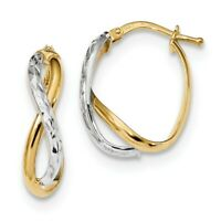 14k Two-Tone Gold Diamond-cut and Polished Hoop Earrings