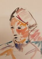 """JOSE TRUJILLO ORIGINAL Watercolor Painting American Fauvist 9X12"""" COA Portrait"""