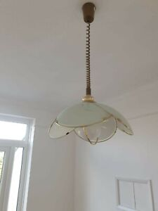 Vintage Ceiling Light Pull Down Extendable Over Table Hanging Light Gold Glass