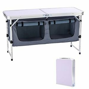Outdoor Folding Table Aluminum Lightweight Height Adjustable with Storage Grey