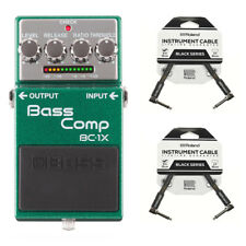"""Boss Bc-1X bass Comp Compressor Effects Pedal for bass guitar&Roland 6""""in cables"""