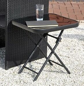 Black Coffee Side End Table Glass Folding Outdoor Living Room Garden Furniture