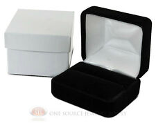 "Black Velvet Classic Metal Double Ring Jewelry Gift Box 2 3/8""W x 2""D x 1 1/2""H"