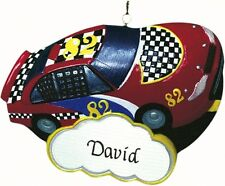 PERSONALIZED  NASCAR-TYPE STOCK CAR ORNAMENT MAGNET CHRISTMAS JEANE'S THINGS