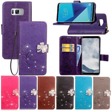 SD FourLeaf Bling-B Strap Leather Wallet Card Case Cover For Samsung J7 J5 A8 C8