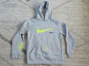 Medium/10-12 Youth Boys Nike Sweatshirt Street Style Hooded BV3163-012 Gray Lime