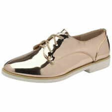 LADIES DOLCIS KIA ROSE GOLD FLAT LACE-UP METALLIC BROGUE PUMPS LOAFERS SHOES 3-8