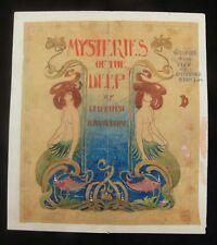 """Mysteries of the Deep"" c.1910 Original Watercolour Book Cover Design"