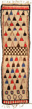 Vintage Tribal Moroccan Runner in Cream, Pink, Red, Blue, and Black BB5134
