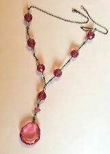 Vintage faceted pink & clear glass sterling silver Edwardian / Art Deco necklace