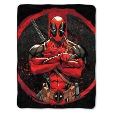 "New Marvel Comics Deadpool Super Plush Soft Throw Blanket 46""x60''"