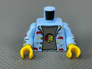 LEGO Minifigure Torso Bright Light Blue Shirt Gray Tshirt Space Theme Logo Gamer