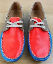 Marc Jacobs Lace Up Flat Boat Shoes Size 5 Orange & Blue Colourful Loafers