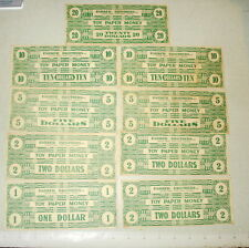 c1900 PARKER BROTHERS TOY PAPER MONEY - Lot of 9 Bills $1 $2 $5 $10 $20