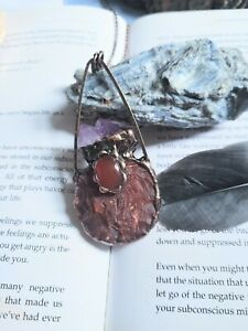 Carnelian raw stone and amethyst magic potion bottle  necklace crystal healing