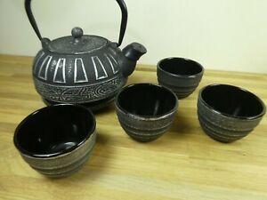 Japanese Cast Iron Tetsubin Tea pot / Kettle, with trivet & four cups, Unusual