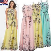 USA Women Summer Boho Long Maxi Dress Evening Party Beach Dresses Chiffon Dress