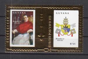 DY9738/ GUYANA – POPE BENOIT XV – GOLDEN BLOCK Y&T # 522 MINT MNH