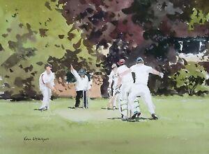 693 Howzat! - Cricket Game Sport Watercolour Ken Hayes