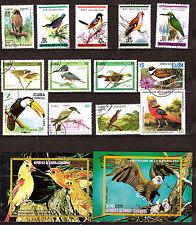 TOUS PAYS  bloc et timbres sur les oiseaux communs, exotiques et rapaces G142