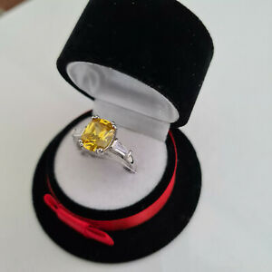 Beautiful Citrine & Diamond Ring in Rhodium over Sterling Silver