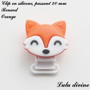 Pince / Clip en silicone, attache tétine, passant de 20 mm, Renard : Orange