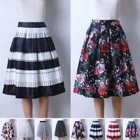 Women Swing Hepburn Party Skirt A Line Pleated High Waist Midi Ball Gown Dress