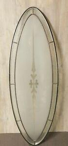 Lrg Oval Replacement Glass Door Insert Silver Pattern Leaded Glass Window Nice