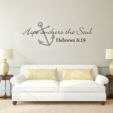 """Bible Hebrews 6:19 Wall Decal Hope Anchors The Soul Quote Vinyl Decor 16""""H x 46W"""